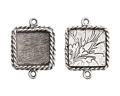 Nunn Design Antique Silver (plated) Mini Ornate Square Bezel Link 24x18mm