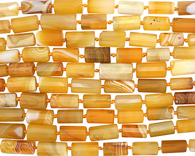 Yellow Botswana Agate Faceted Tube Graduated 12-28x8-15mm