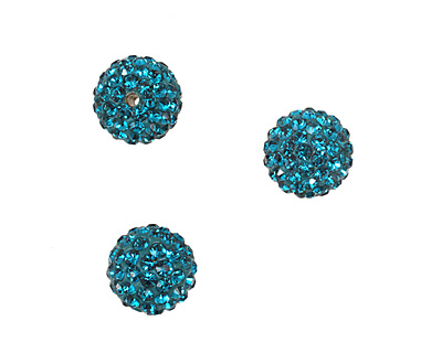 Teal Pave Round 10mm (1.5mm hole)