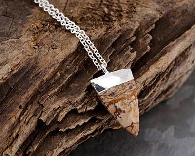 Picture Jasper Faceted Triangle Pendant w/ Silver Finish 13x24mm