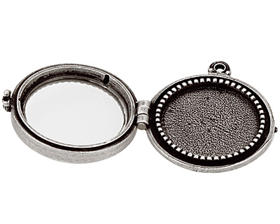Nunn Design Antique Silver (plated) Small Beaded Locket 30mm