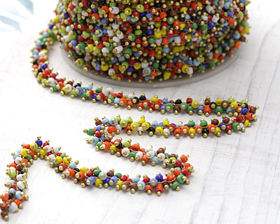 Zola Elements Autumn Skies Seed Beads on Brass Chain