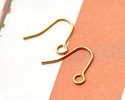 Gold (plated) Plain Earwire w/ Loop 13x12mm