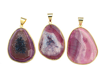Purple Agate Freeform Druzy Pendant w/ Gold Bail (plated) 28-36x39-49mm