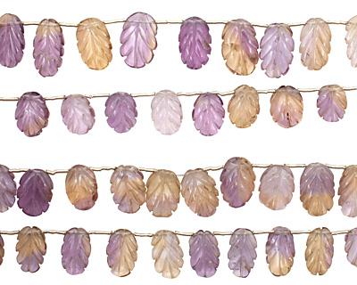 Ametrine Carved Leaf Drop 8-11x11-15mm