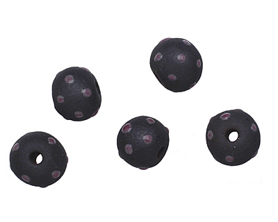 Gaea Ceramic Dark Purple Haze Polka Dot on Black Round Bead 10-12mm
