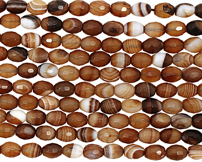 Amber Line Agate Faceted Rice 10x8mm