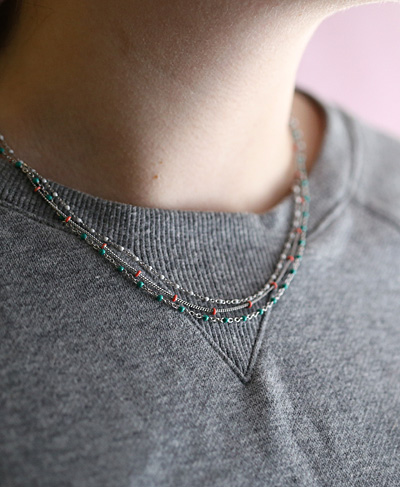 Gold (plated) Stainless Steel Turquoise Satellite Chain