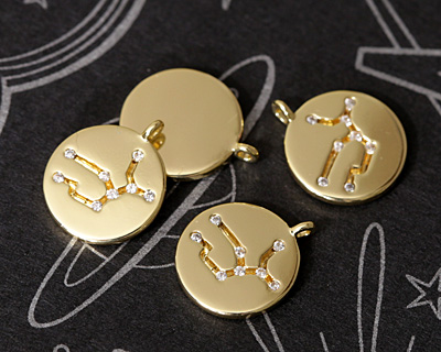 Gold (plated) w/ Crystals Virgo Constellation Charm 11x13mm