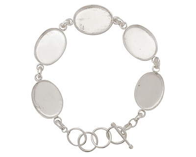 Silver (plated) Oval Bezel Link Bracelet 24x18mm