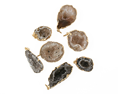Oco Geode Pendant Set in Gold (plated) 20-27x33-45mm