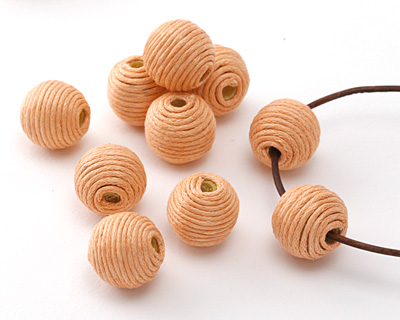 Apricot Thread Wrapped Bead 14mm