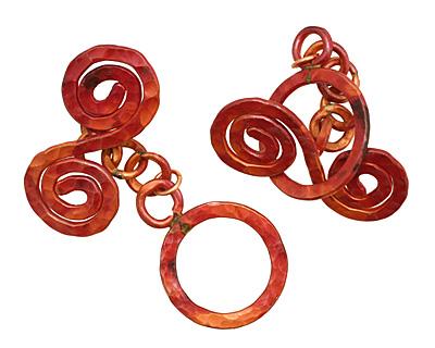 Patricia Healey Copper Round Toggle w/ Spiral Bar 29x40mm, 47mm bar