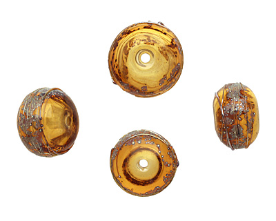 A Beaded Gift Topaz Luxe Glass Rondelle (hollow) 13-15x19-23mm