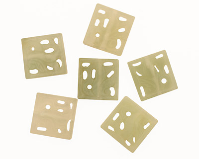New Jade Floral Carved Square 25mm