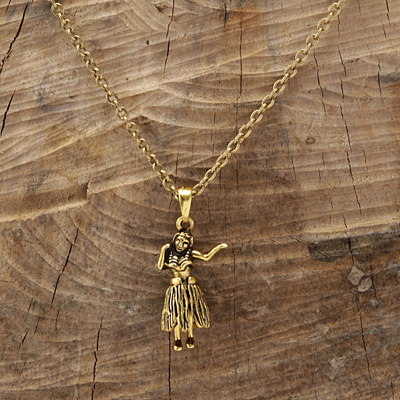 Antique Gold (plated) Dancing Hula Girl 26x10mm