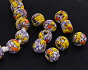 African Recycled Powder Glass & Seed Bead Summer Day Mix Tumbled Round 10-14mm