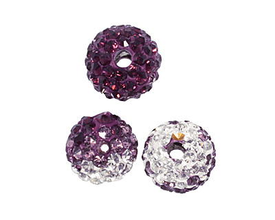 Amethyst/Crystal Ombre Pave Round 8mm (1.5mm hole)