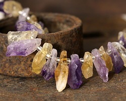 Amethyst and Citrine Rough Nugget Drop 7-12x15-43mm