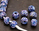 African Recycled Powder Glass & Seed Bead Sailing Mix Tumbled Round 10-14mm