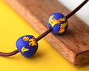 African Recycled Powder Glass & Seed Bead Cobalt w/ Yellow Tumbled Round 10-14mm