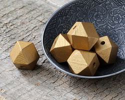 Metallic Gold Wood Faceted Nugget 20mm