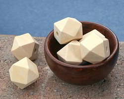 Natural Wood Faceted Nugget 20mm