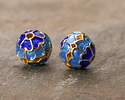 Cloisonné Blue & Aqua w/ Gold Finish Openwork Floral Round Bead 8mm