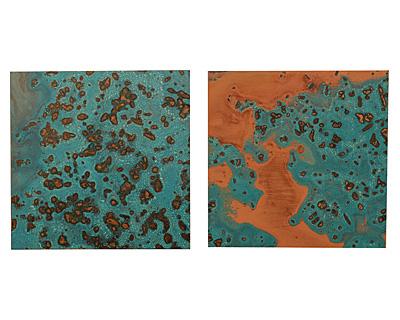 "Lillypilly Azul Patina Copper Sheet 3""x3"", 24 gauge"