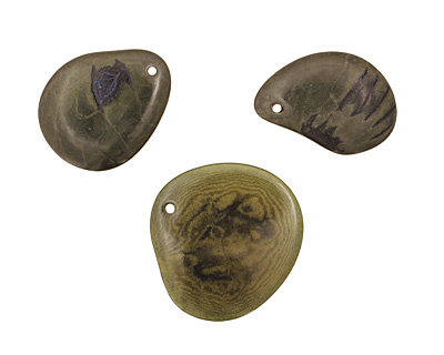 Tagua Nut Forest Green Groovy Slice 25-35x30-42mm