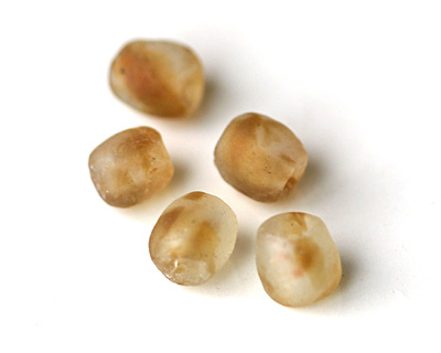 African Recycled Glass Caramel Tumbled Round 8-11mm