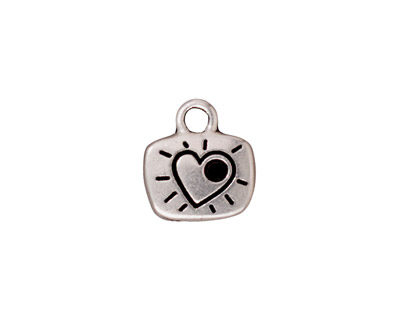 TierraCast Antique Silver (plated) Love Charm w/ Glue In 12x14mm