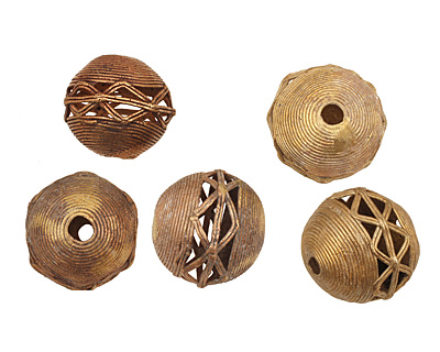 African Brass Corrugated w/ Zig Zag Round 34-37mm