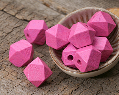 Pink Wood Faceted Nugget 14mm