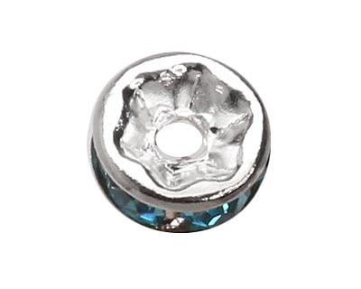 Silver (plated) Aqua Rhinestone Rondelle 6mm