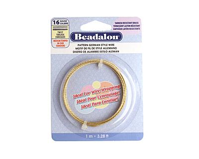 German Style Wire Non Tarnish Brass Twist Pattern Round 16 gauge, 1 meter