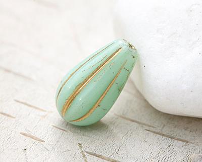 Czech Glass Sweet Mint w/ Gold Melon Teardrop 15x8mm