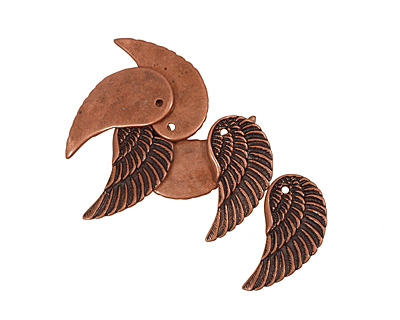 Antique Copper (plated) Wing 17x32mm
