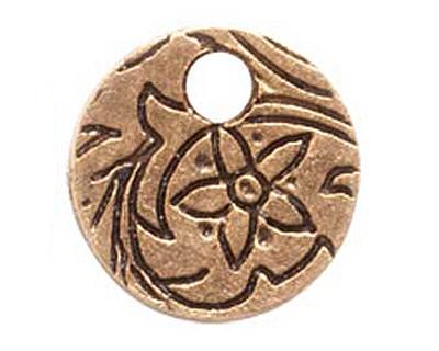 Nunn Design Antique Gold (plated) Mini Circle Flower Tag 12mm