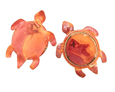 Patricia Healey Copper Turtle Bezel Pendant 50x64mm