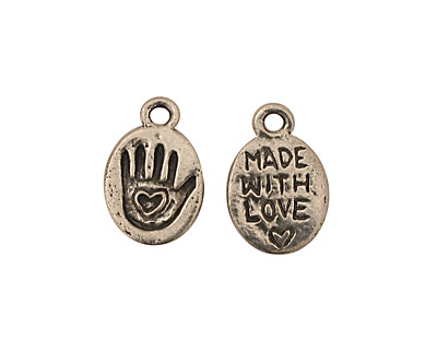 Green Girl Pewter Made With Love Hand 10x15mm
