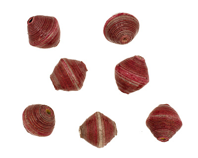 African Paper (maroon, pink, gray) Bicone 14-15x15-16mm
