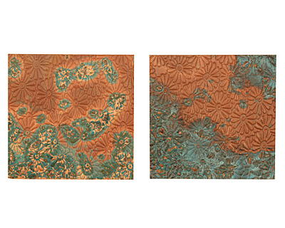 Lillypilly Azul Raised Flower Embossed Patina Copper Sheet 3