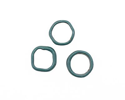 C-Koop Enameled Metal Peacock Blue Large Ring 16-17mm