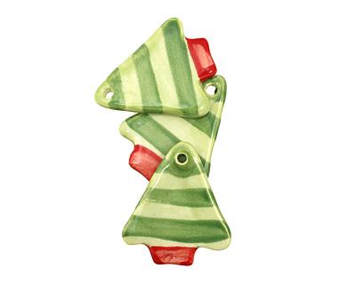 Jangles Ceramic Lime w/ Green Stripe Tree Pendant 28x35mm