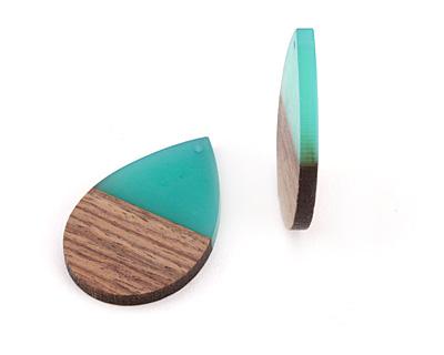 Wood & Green Turquoise Resin Teardrop Focal 32x48mm