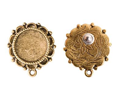 Nunn Design Antique Gold (plated) Mini Ornate Circle Earring 19x22mm