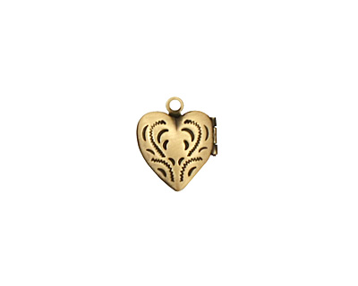 Antique Brass (plated) Tiny Pressed Heart Heirloom Locket 13x15mm