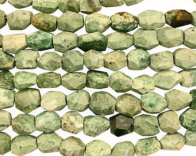 Green African Opal Faceted Nugget 12-19x11-15mm