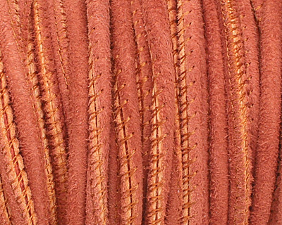 Rust Stitched Suede Round Leather Cord 2.5mm